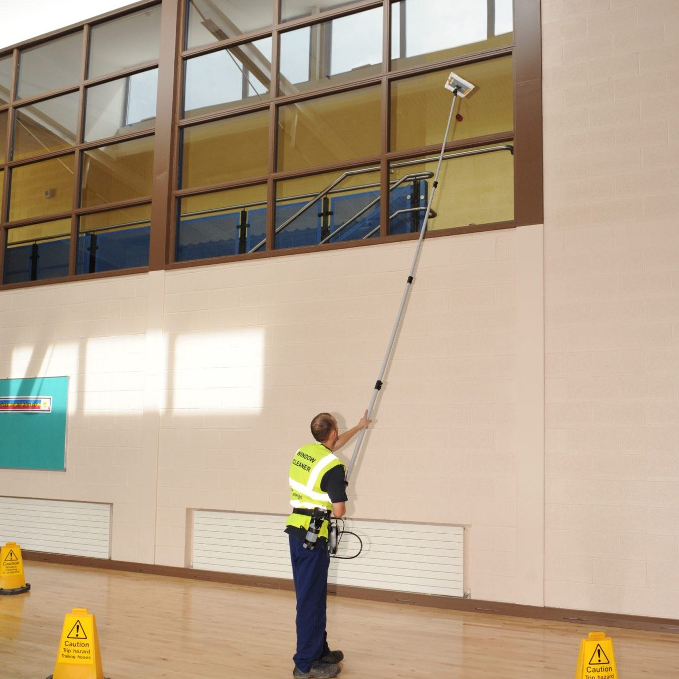 Interior window cleaning using our clever pole system